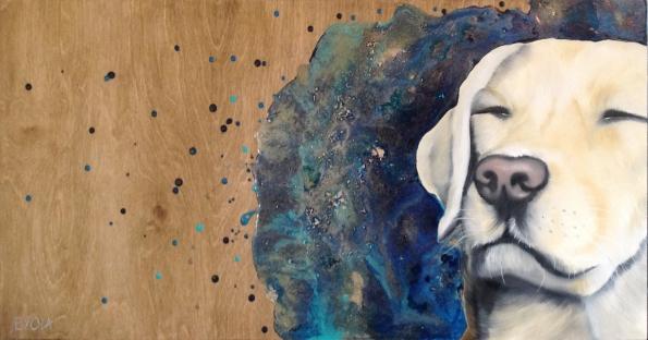 Les pensées du Labrador (30 x 15″) 270,00$ + tx